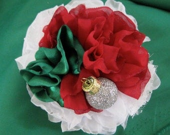 Christmas Holiday  White Red and Green Chiffon Satin and Lace Flower Hair Clip Brooch Pin with a Tiny Ornament Accent