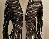 Serious Siren peplum jacket top Sequined Dolman sleeves w Black Silver Stripe.Sheer Vintage sz sml  to Large fit US sz 4-8 approx