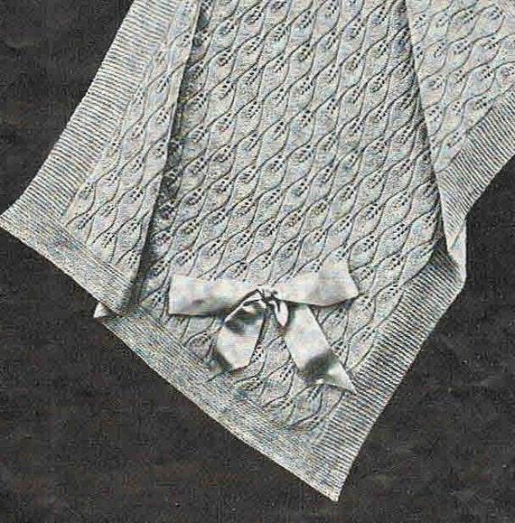 Knitting Patterns For Baby Blankets Australia : Leaf pattern pram cover or baby blanket epattern classic s