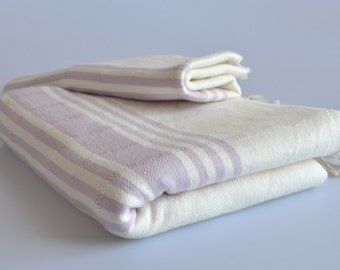 Turkish towel handwoven peshtemal towel and hand towel set ivory with lilac stripes