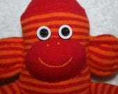 Small Red and Orange stripes Sock Monkey, toy, doll - personalised