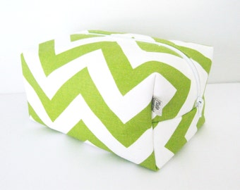 Green Chevron Makeup Bag  - Cosmetic Pouch -  Lunch Bag - Wet Bag -Waterproof Bag