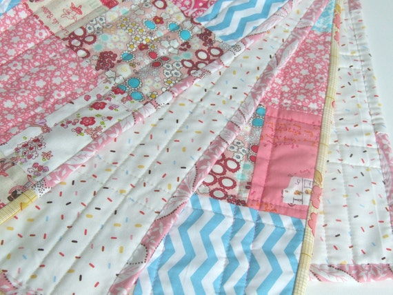 Pink Baby Quilt - Modern Quilt - Baby Quilt - Japanese Fabrics