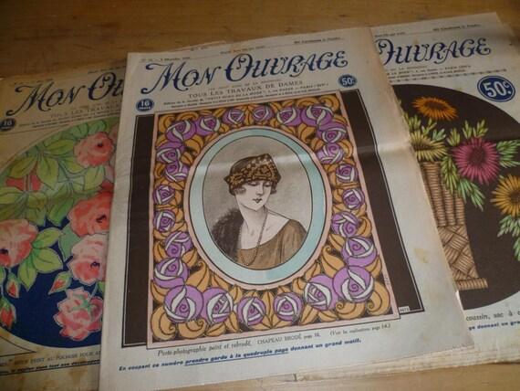 Vintage Craft Magazine X 3, Art Deco 1920s, French, Mon Ouvrage
