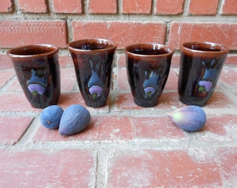 Set of 4 Peacock Feather/Abstract Design Cups