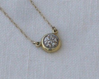 Necklace - Diamond Pendant - 10K Gold Chain - Vintage