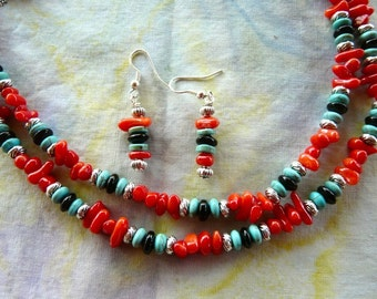 30 Inch Double Strand Red Coral, Turquoise, and Onyx Necklace and Earrings