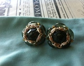 Vintage Gold Tone Green Crystal Glass Chain Western Germany Clip On Earrings