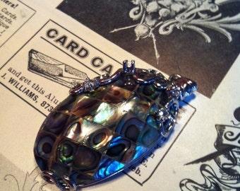 Vintage Silver Tone Diamond Abalone Pendant Charm