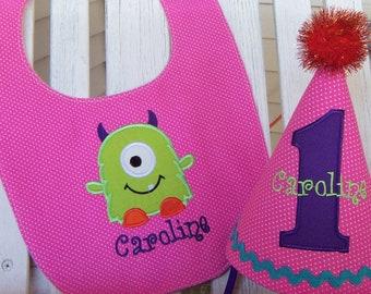 Girls 1st Birthday Hat - Little Monster Birthday Hat - Monster Party Hat & Bib Set - One Eyed Monster - Pink and Purple Hat and Bib