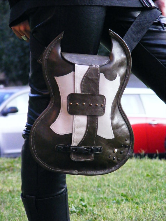 Guitar Shaped Bag. Handmade Leather Novelty Bag. White & Green Eco Sustainable Leather Bag.