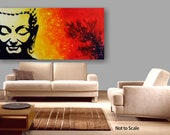 Spiritual Unique Fluid  Abstract Painting. Free Shiping.Red and Yellow. Fine Art on Artboard Title Buddah. By Igor Turovskiy
