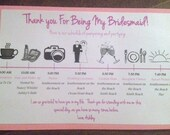 Double Layered Bridesmaid or Groomsmen Schedule Timeline