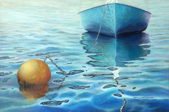 Calm turquoise sea - Original Oil Painting on canvas/ linen. By Miki Karni.  30% Discount For one month