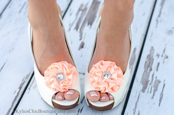 Peach Shoe Clips - Wedding, Bridesmaid, Date Night, Party, Everyday wear