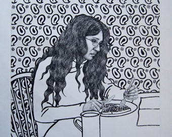 Etching portrait print of lady at the dinner table - original hard ground etching print - black and white original art