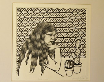 Patterned wallpaper background portrait of a woman pondering, original etching print