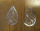 Laser Lace Filigree Components, Plated Bright Silver (2)