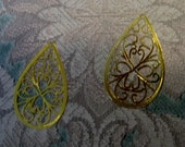 COUPON Code SAVE30 Laser Lace Filigree Components, Plated Bright Gold (2)