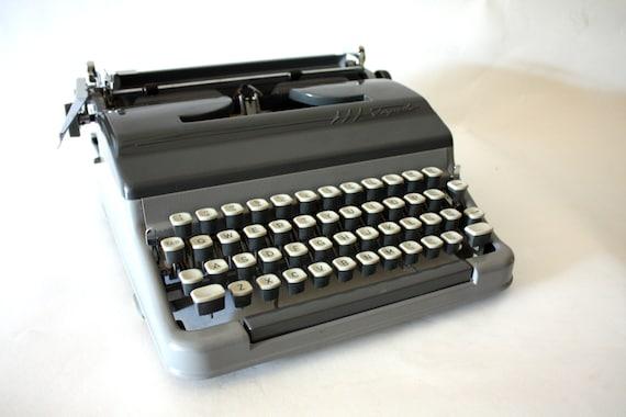 Vintage Remington Rand Torpedo Typewriter - grey, gray, German, West Germany, industrial