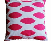 CLEARANCE SALE!!!  Pink and White Ikat Pillow Cover - 18 x 18 Decorative Pillow Cover