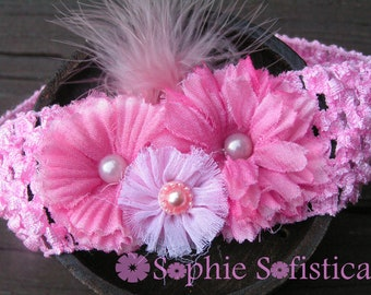Pink Crochet Headband with 3 Shabby Muslin flowers Accented with Pearls and Marabou Feathers - Baby and Toddler