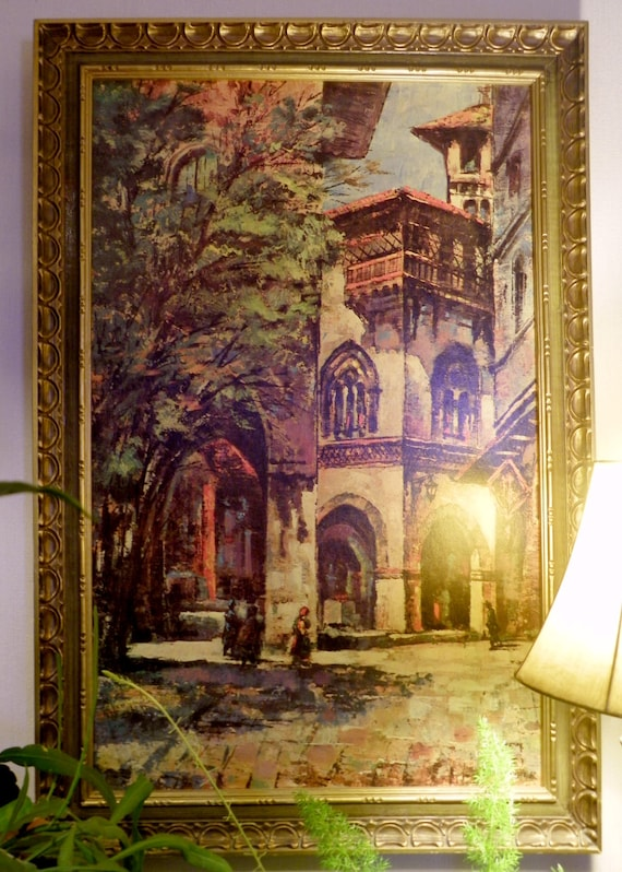 Signed Framed Peter Peiper Oil Painting Print Of Italian Villa