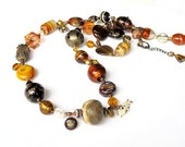 Autumn long beaded necklace 'Country Chic' handmade