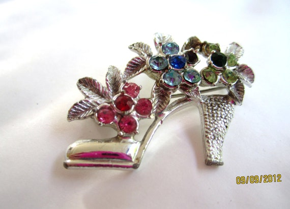 Rhinestone Flower Shoe Brooch 1960s Vintage Jewelry