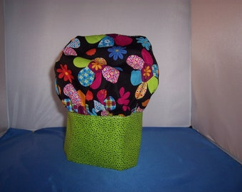 Chef Hat Mint green band with flowered tops Child's