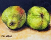 Green pears on black background limited edition ACEO print