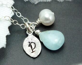Personalized leaf necklace, Custom stone, Leaf charm, Birthstone necklace, Aquamarine Jewelry, Bridesmaid gifts, Fall wedding