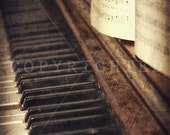 old vintage piano with sheet music color print