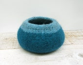 Felted Bowl - Teal Blue, Wool, Home Decor, Storage, Aqua, Blue Green, Turquoise