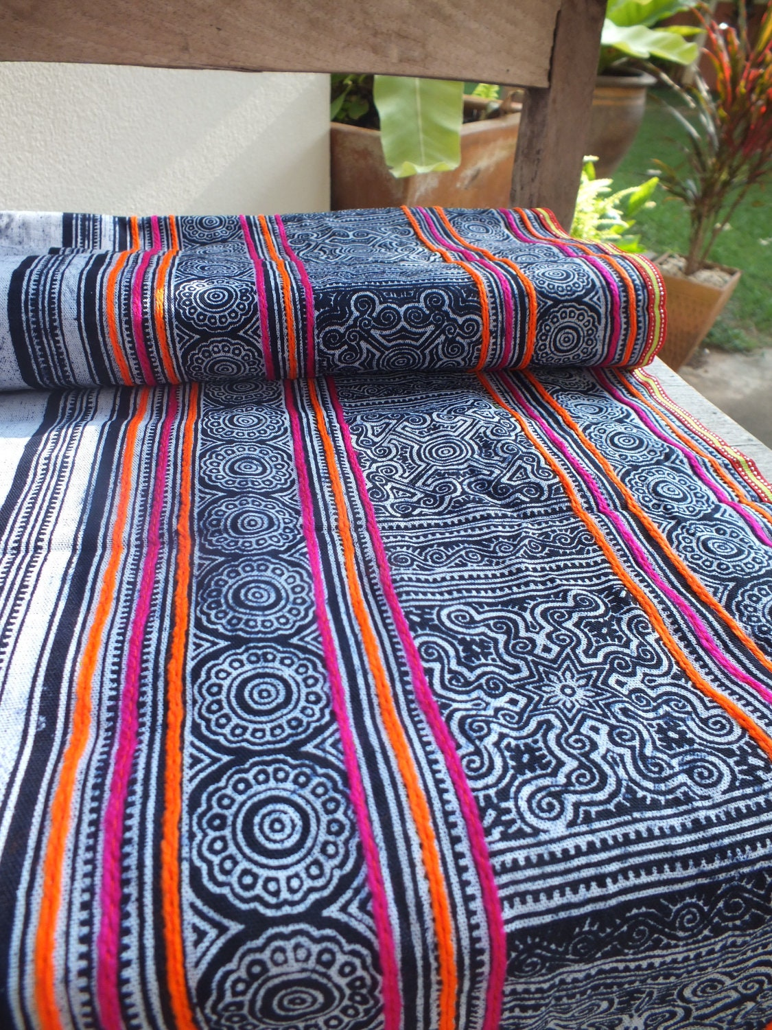 Handwoven Hmong Cotton Vintage Fabric Indigo Textiles And