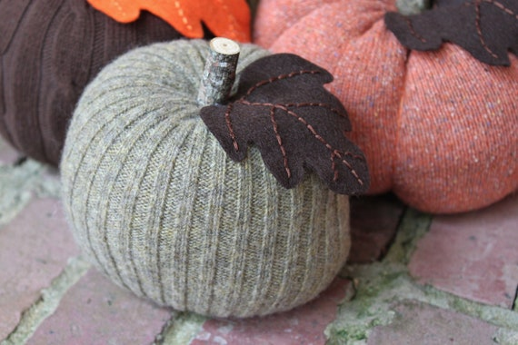 "Upcycled Green/Grey Sweater Pumpkin 5""x5"", Fall Decor (Item 1)"