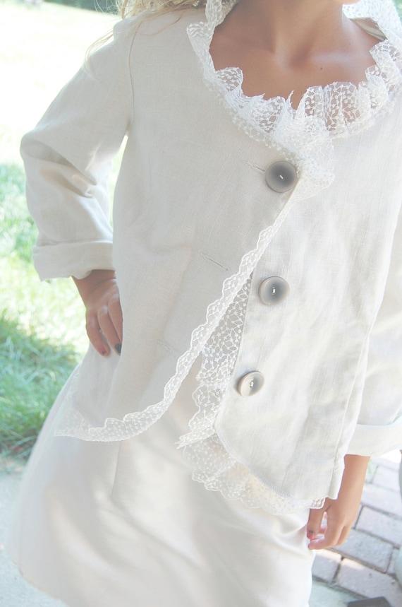 Upcycled Clothing Linen Jacket Blazer Sale White MEDIUM Of Linen and Lace Handmade Shabby Chic Clothing Fancy Wedding Coat
