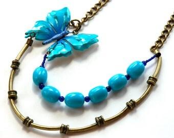 Repurposed Bib Necklace Blue Enamel Butterfly Brass Glass Beads // Repurposed Vintage Jewelry