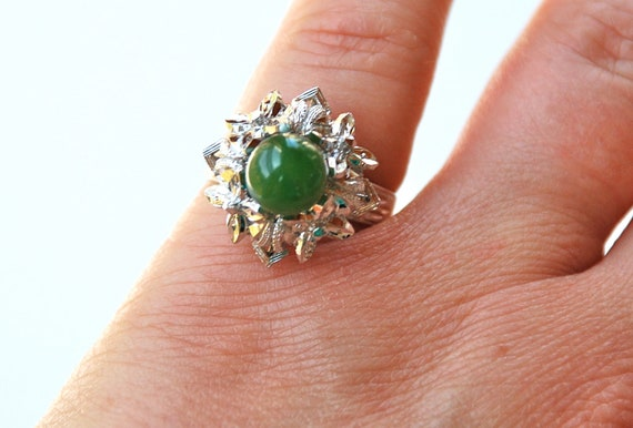 Silver Jade Ring Filigree Size 6 or 6 1/2 // Vintage Jewelry