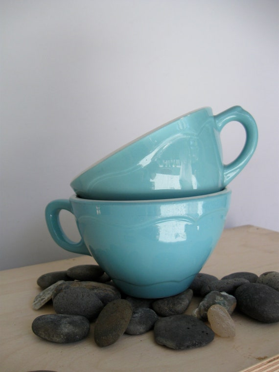 Turquoise and white Restaurant Ware tea cups, pair