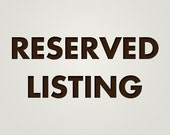 Listing Reserved for S2WEBB