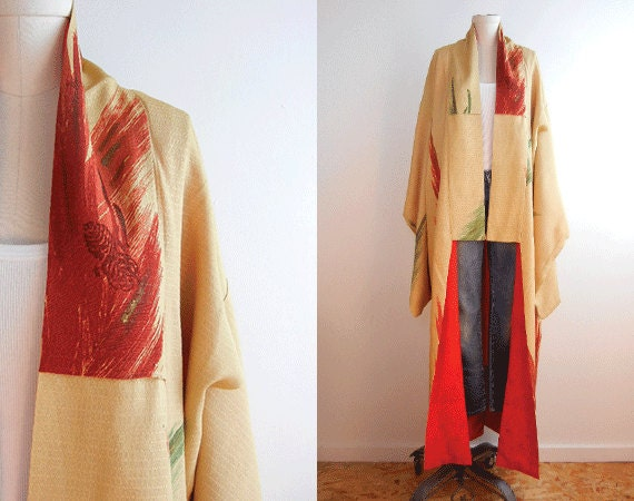 Vintage Silk Kimono / Handstitched Fall Textured Robe Tan and Brick Red Pine Cones