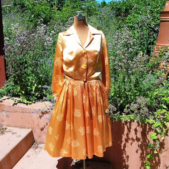 Vintage 1950's Apricot Silk Satin Dress Asian Floral Motif Jacquard 'Under the Tuscan Sun' Garden Party Shirtwaist