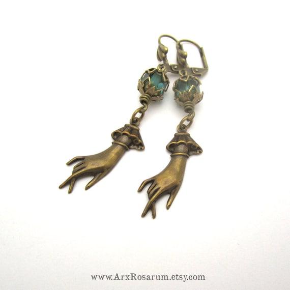 Lady Hand Earrings - Light Emerald Turquoise Green - Brass Leverback - Creepy Halloween