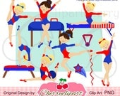 Red and Blue Gymnastics Girls Digital Clipart Set  for -Personal and Commercial Use-paper crafts,card making,scrapbooking,web design