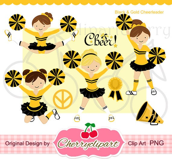 Black and Gold Cheerleader Digital Clipart Set for -Personal and Commercial Use-paper crafts,card making,scrapbooking,web design