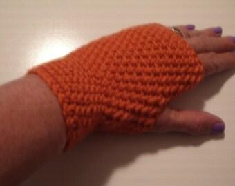 Mittens, Crochet Mittens, Fingerless Mittens, Crochet Fingerless Mittens, Burnt Orange Crochet Mittens