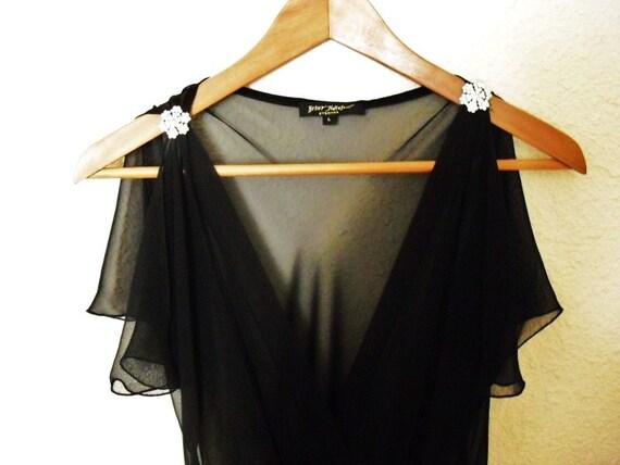 vintage Betsy Johnson 1930s style V neck long black dress