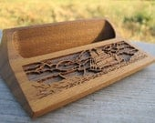 Lasercraft Business Card Holder Engraved Wood Nautical Pirate Vintage Office