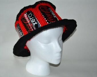 Recycled Coke Zero soda can crocheted hat